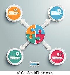 cercle, flèches, puzzle, 4