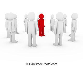cercle, humain, blanc rouge, 3d
