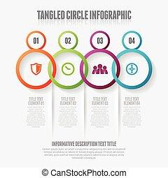 cercle, infographic, enchevêtré
