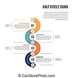 cercle, infographic, moitié