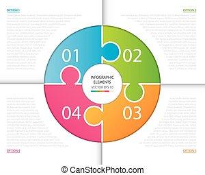cercle, infographic, puzzle