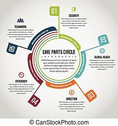 cercle, ligne, infographic, parties