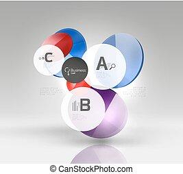 cercle, lustré, coloré, infographics