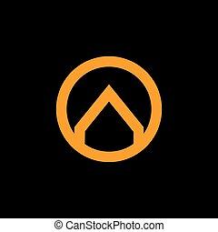cercle, or, logo, flèche, lié, vecteur, anneau