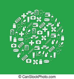 cercle, pharmacie, icônes