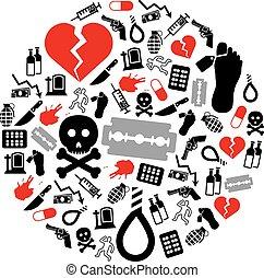 cercle, suicide, icônes