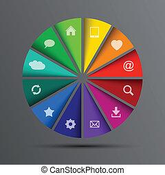 cercle, vecteur, icônes