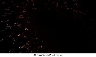 cercles, énorme, fantastique, soir, feux artifice, ciel, éclater