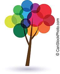 cercles, arbre, multicolore, image., bonheur, life., icône, vecteur, bon, concept