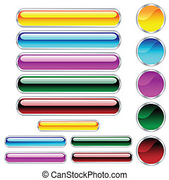 cercles, boutons, arrondi, assorti, couleurs, lustré, scaleable, rectangles