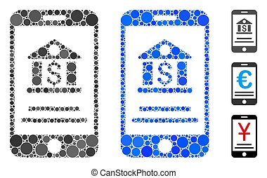 cercles, composition, icône, banque, mobile
