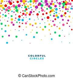 cercles, conception, confetti, coloré, célébration, tomber, fond