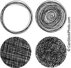 cercles, dessiné, grunge, main