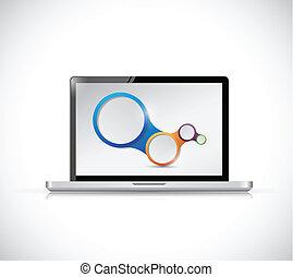 cercles, diagramme, ordinateur portable, lien