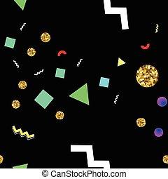 cercles, doré, style, memphis, seamless, formes, modèle, scintillement