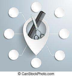cercles, emplacement, ciseaux, marqueur, 8, blanc, peigne