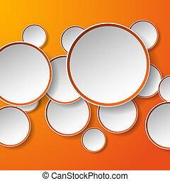 cercles, eps10, résumé, illustration, papier, arrière-plan., forme, vecteur, parole, orange, bulles, blanc