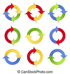 cercles, flèches, coloré