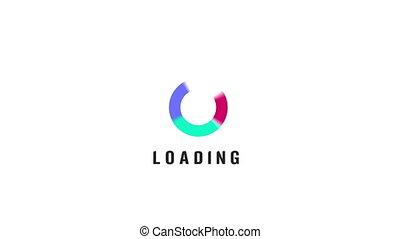 cercles, graphique, spirale, mouvement, fond, chargement, 4k, vidéo, blanc, animation, icône