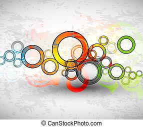 cercles, grunge, couleur, résumé, vecteur, fond