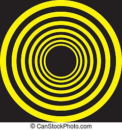 cercles, hypnotique, noir, jaune, descendre, concentrique