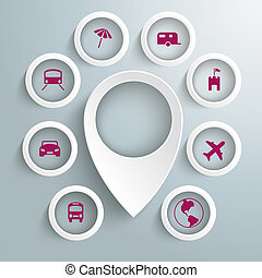 cercles, icônes, 8, voyage, marqueur, piad, emplacement, blanc