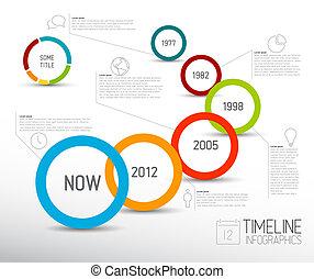 cercles, lumière, infographic, gabarit, timeline, rapport