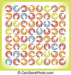 cercles, main, coloré, design.