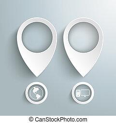 cercles, marqueurs, piad, deux, emplacement, blanc