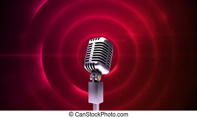 cercles, microphone, rouges