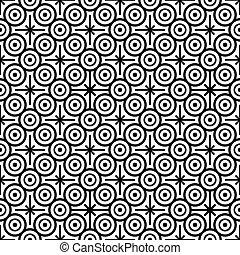 cercles, modèle, pointu, seamless, noir, étoiles, huit, blanc