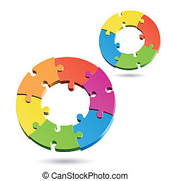cercles, puzzle, puzzle