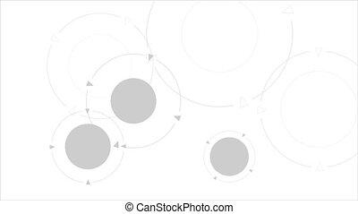cercles, résumé, gris, animation, technologie, vidéo