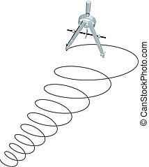 cercles, spirale, haut, rédaction, conception, compas, dessin