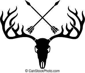 cerf, crâne, arrows.eps, traversé