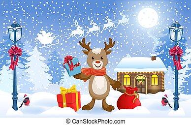 Noël Wind Up caractères Walking Santa Bonhomme de neige et renne