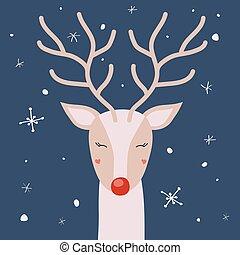 cerf, neige, vecteur, cornes, apprécier, noël carte