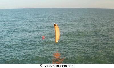 cerf volant, vue, mer, surfer, aérien
