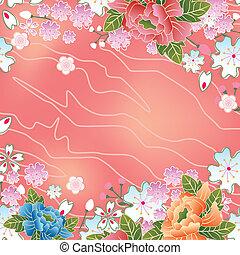 cerise, cadre, asiatique, fleurs