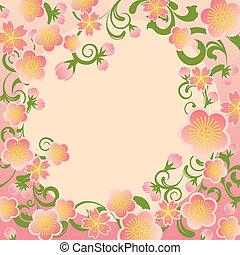 cerise, cadre, fleurs