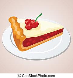 cerise, morceau, tarte
