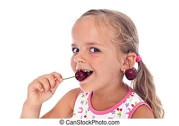 cerise, peu, heureux, girl, boucles oreille