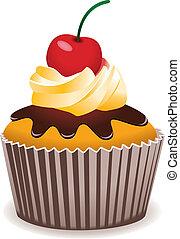 cerise, vecteur, petit gâteau