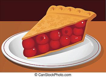 cerise, vecteur, tarte, illustration
