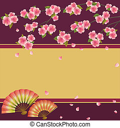 cerisier, japonaise, ventilateurs, sakura, fond