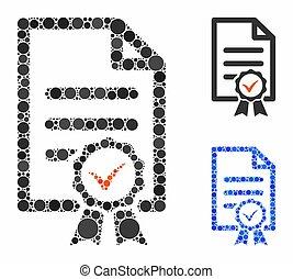 certifié, mosaïque, icône, cercles