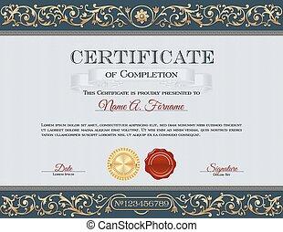 certificat, achèvement, vendange