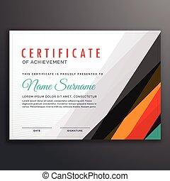 certificat, coloré, moderne, lignes, conception, gabarit