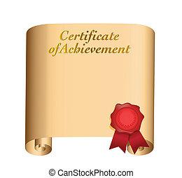 certificat, conception, accomplissement, illustration