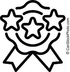 certificat, contour, style, emblème, icône, étoile